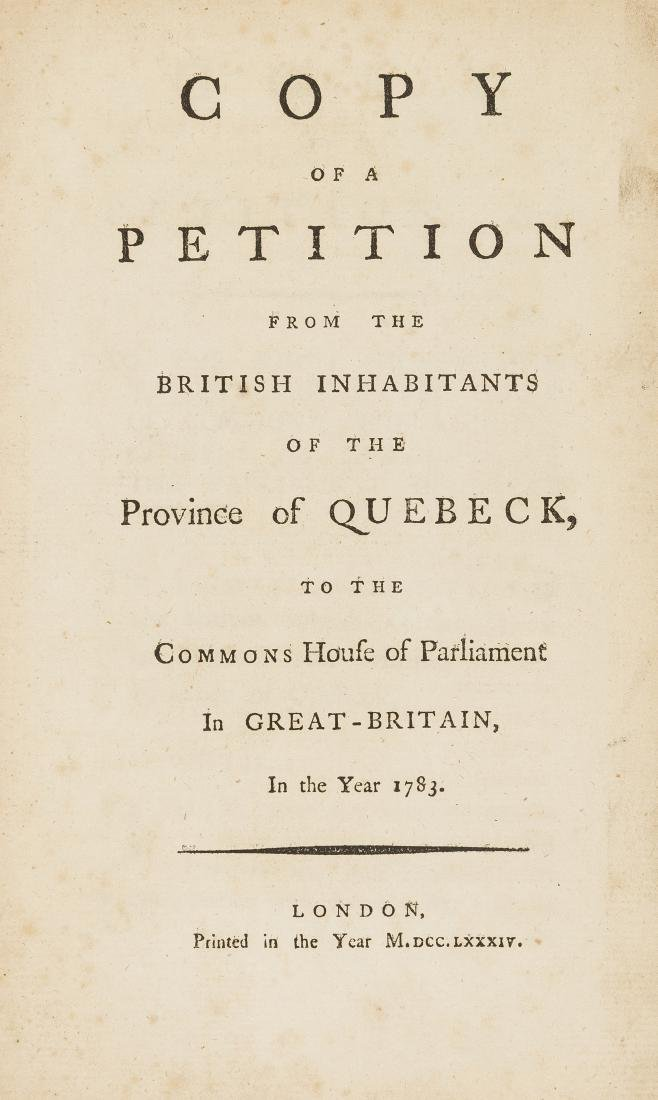 Quebec.- [Maseres (Francis, attributed to)] Copy of a