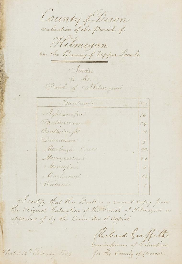 Ireland.- Co. Down.- Valuation of the Parish of Saul