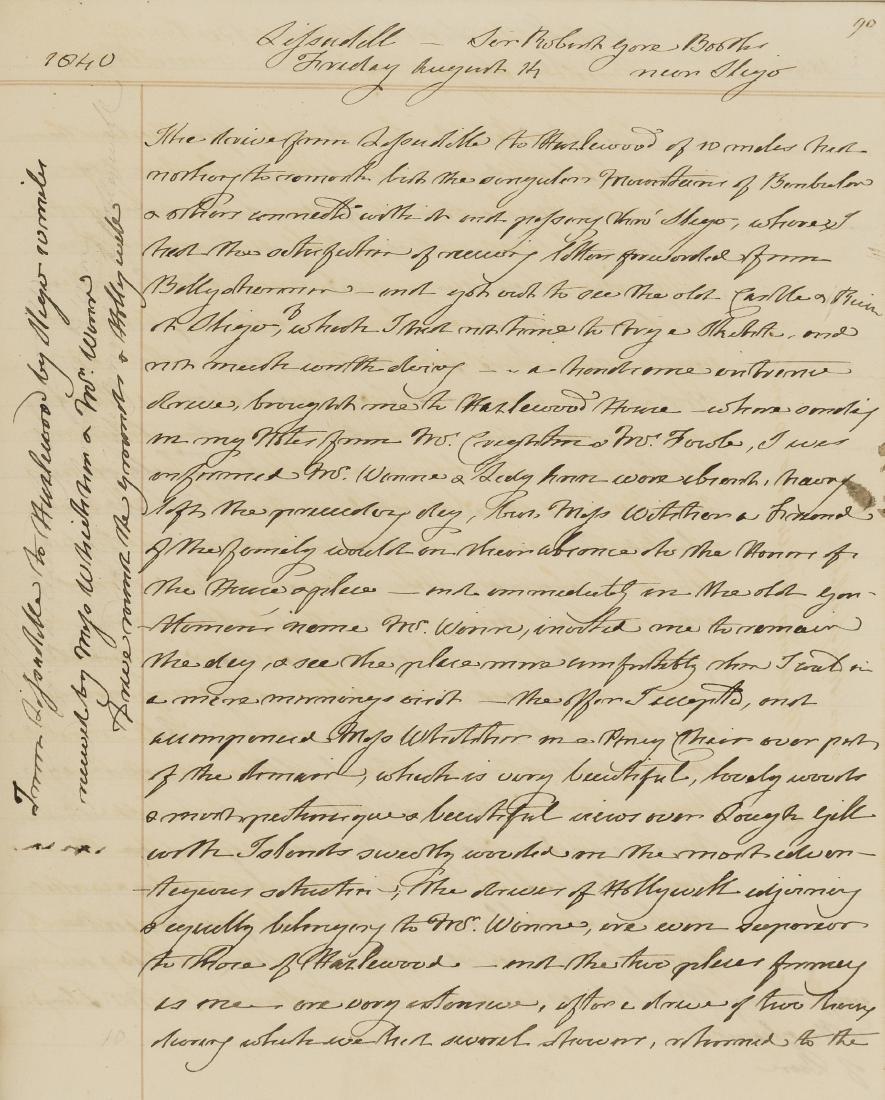 Ireland.- [Tour of Ireland], manuscript, 1840.