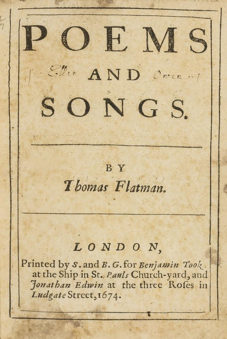 Flatman (Thomas) Poems and Songs, first edition,