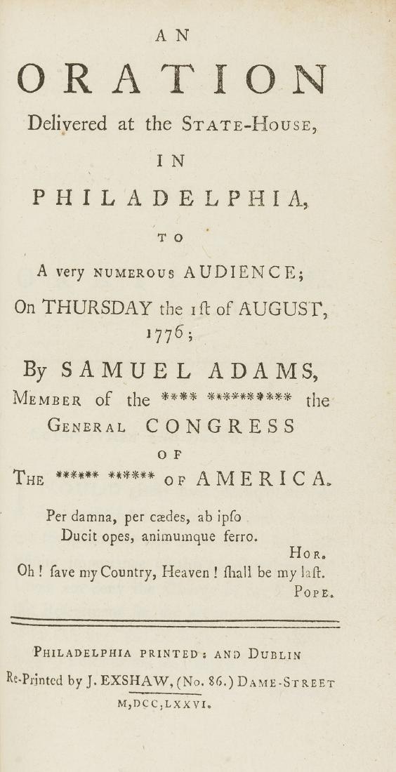 American War of Independence.- Adams (Samuel) OAn