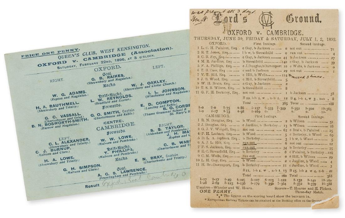 Football.- Varsity match at Queen's Club.- A ticket for