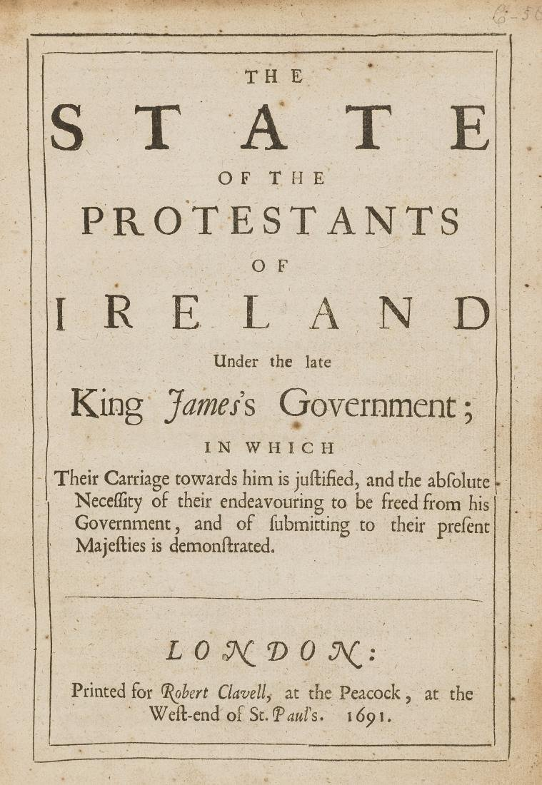 Ireland.- King (William) The State of the Protestants