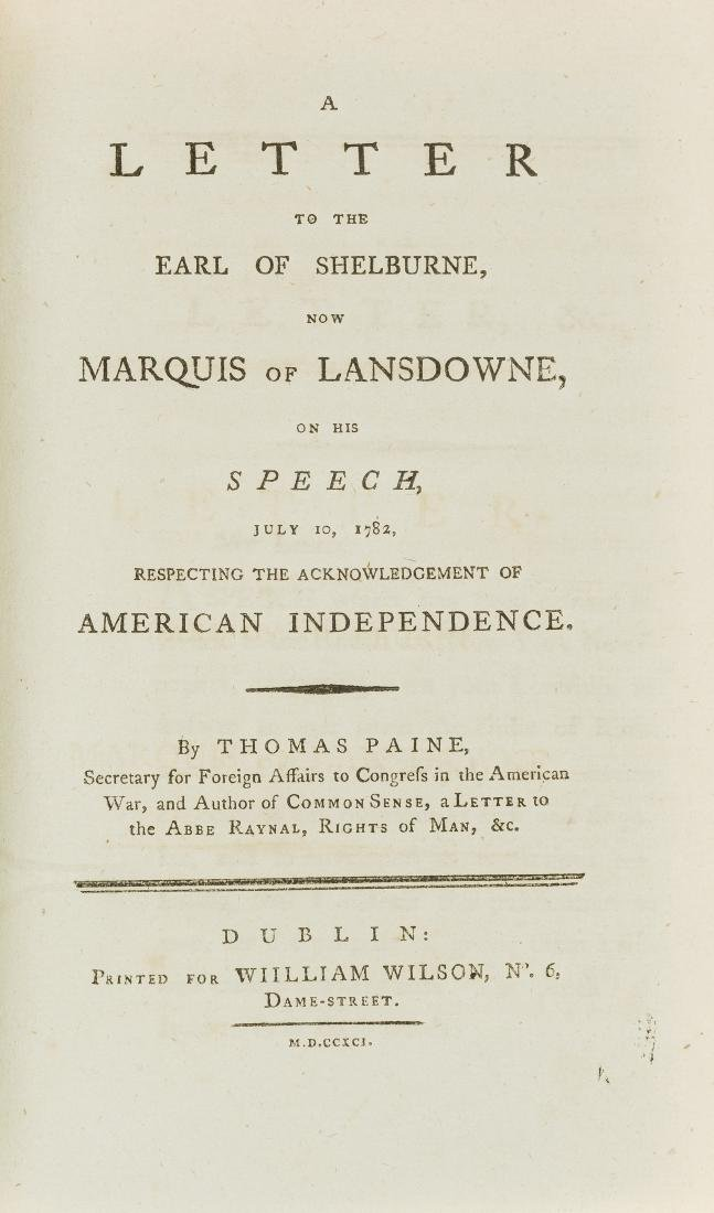 Ireland.- America.- Paine (Thomas) A Letter to the Earl