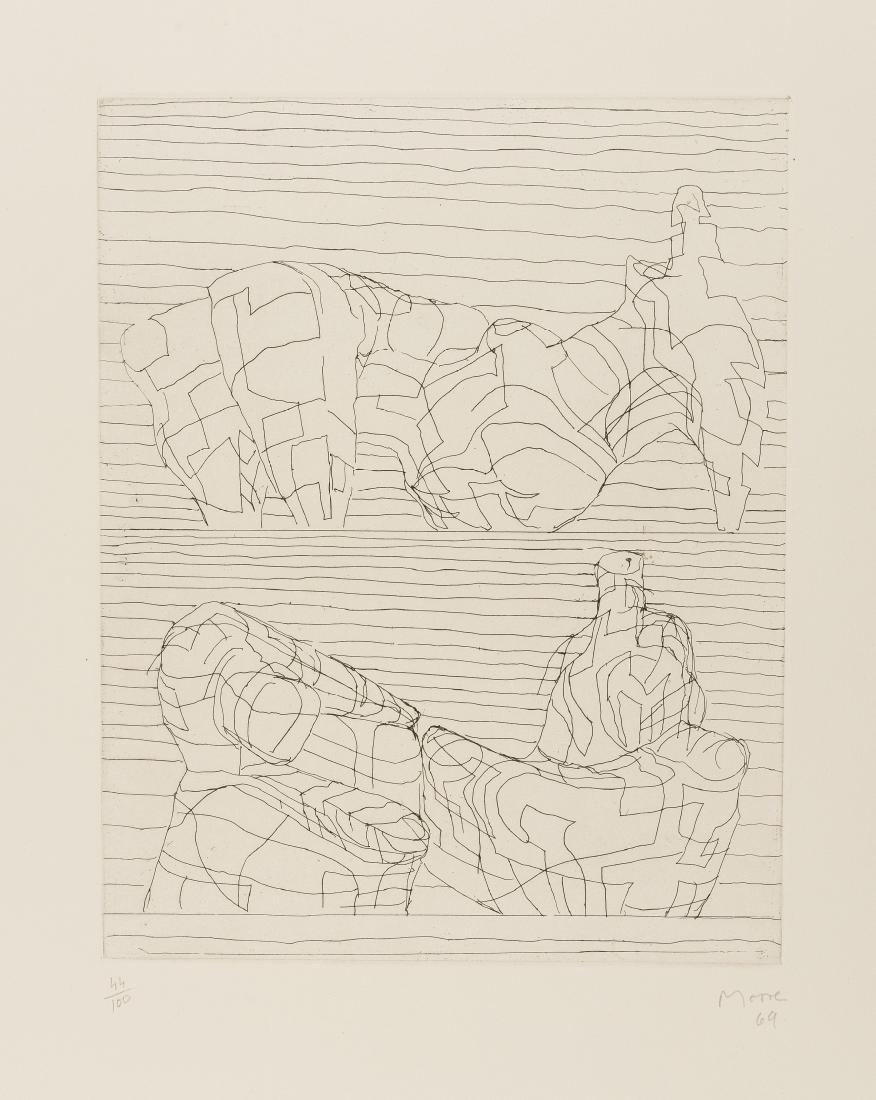 δ Henry Moore (1898-1986)  Two Reclining Figures