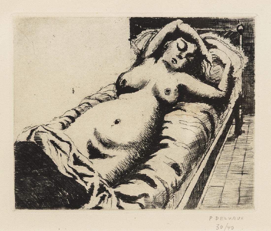 δ Paul Delvaux (1897-1994)  Femme Nu Reste dans