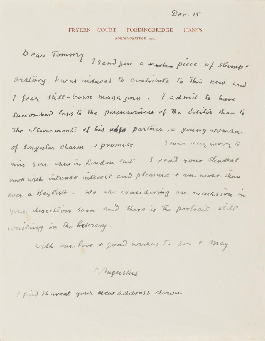 John (Augustus) Autograph Letter signed to Thomas Earp.