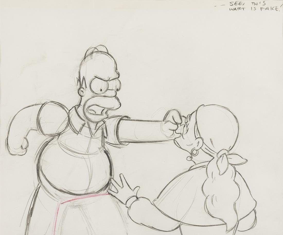 Simpsons (The).- Four original production drawings for