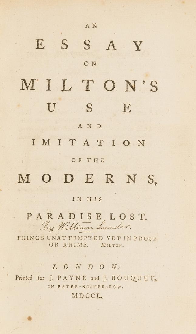 Milton (John).- [Lauder (William)] An Essay on Milton's