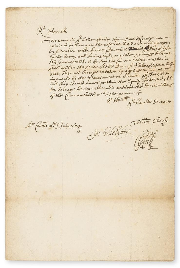 Cromwellian Admiralty Salvage Laws.- Godolphin