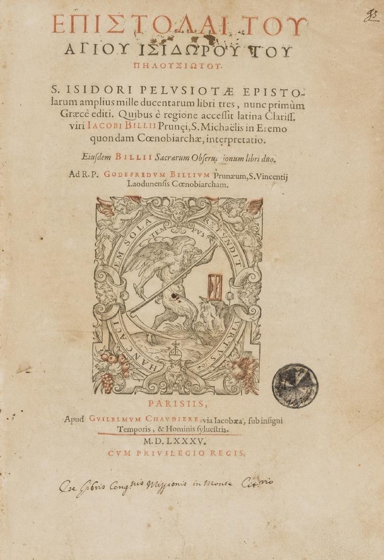 Isidorus Pelusiota. Epistolarum, 2 parts in 1, editio