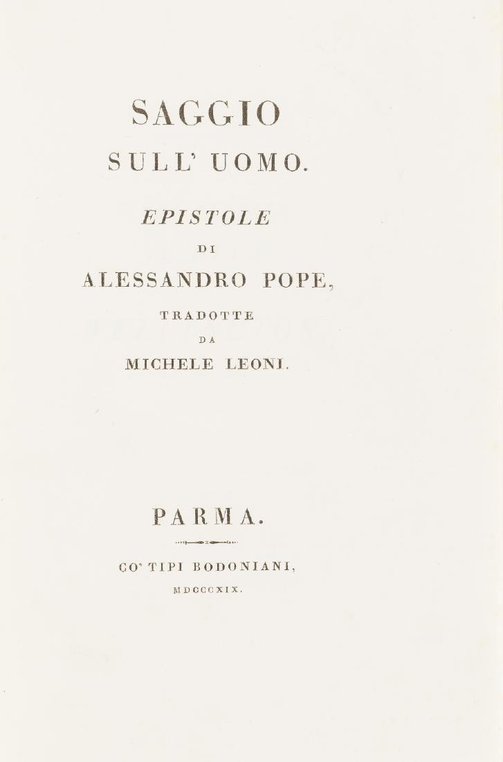 Bodoni.- Pope (Alexander) Saggio sull'Uomo, translated