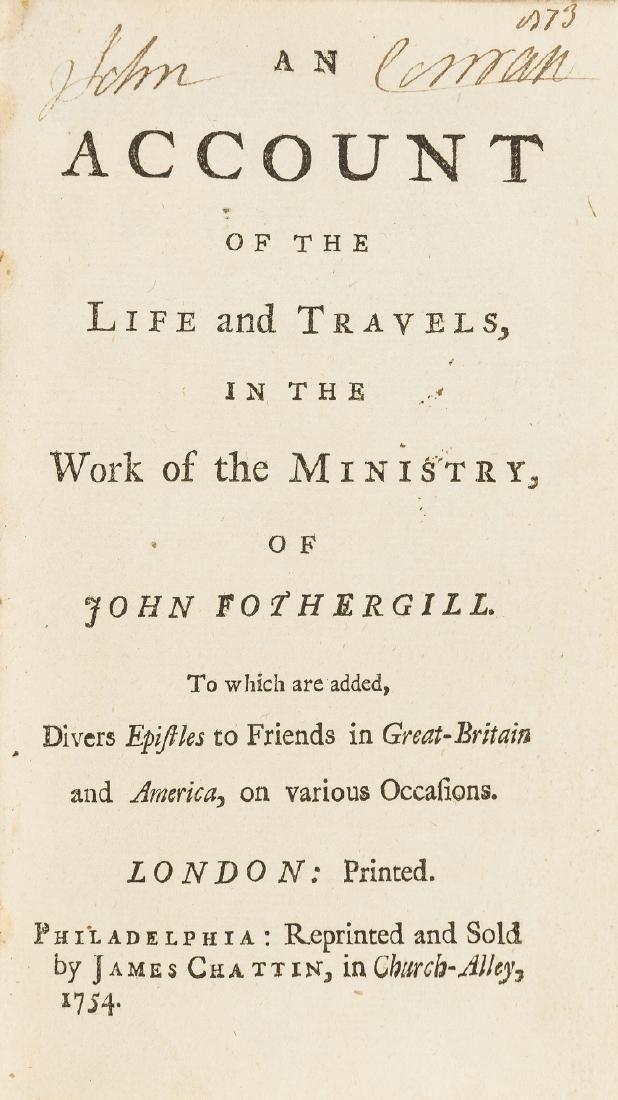 Phildelphia Imprint.- Fothergill (John) An Account of