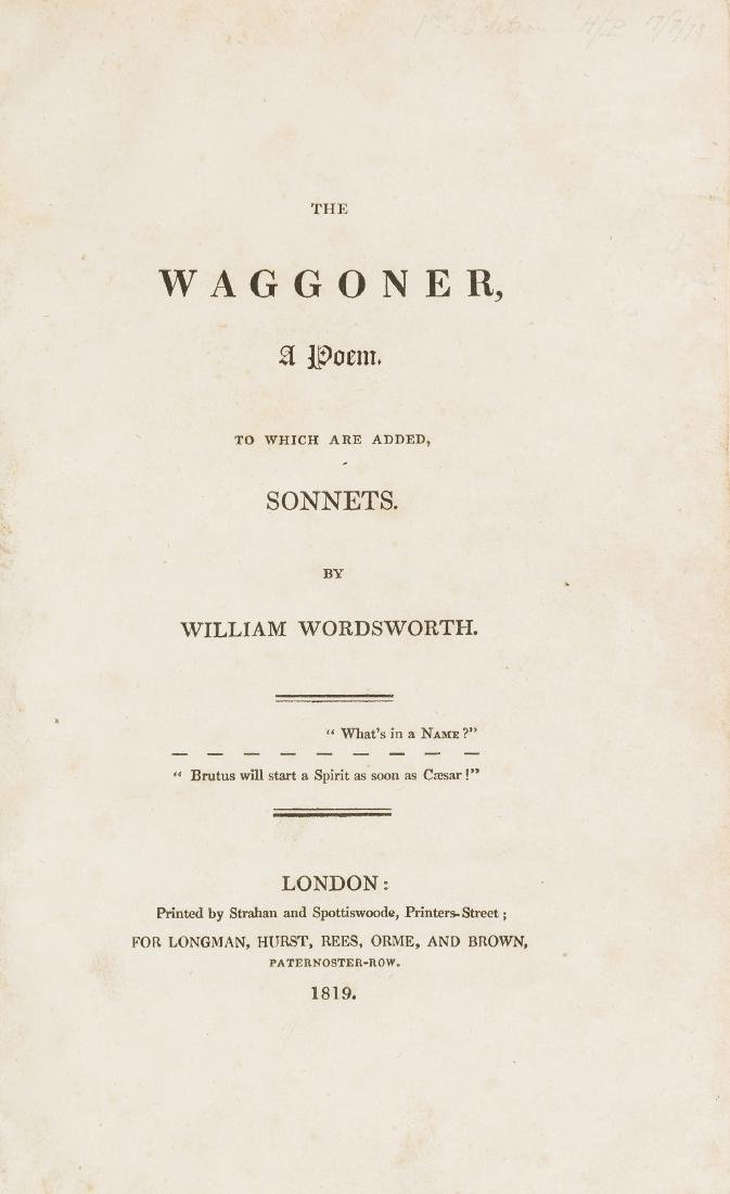 Wordsworth (William) The Waggoner. A Poem, first