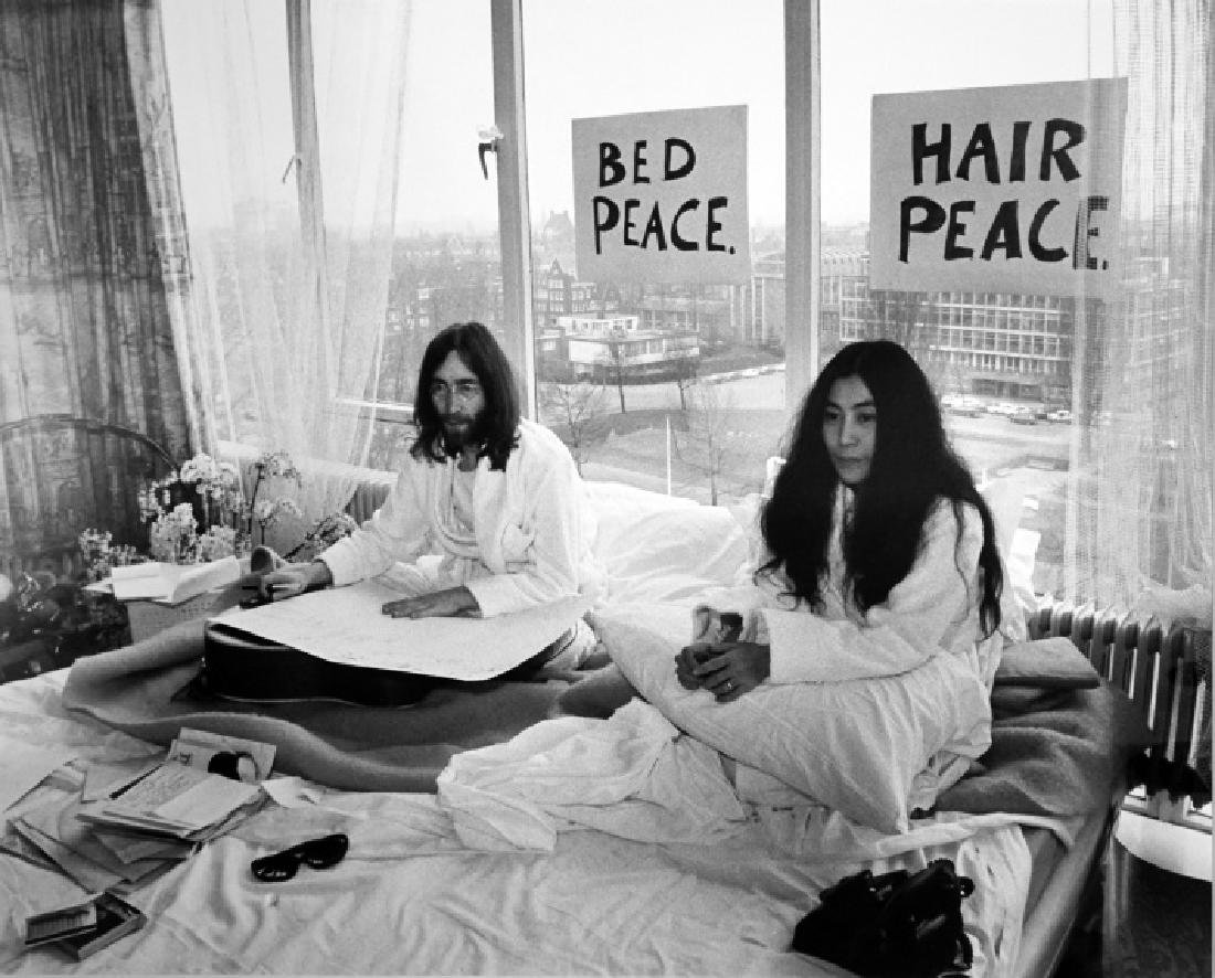 Tony Grylla (b.1941) John Lennon and Yoko Ono, Bed