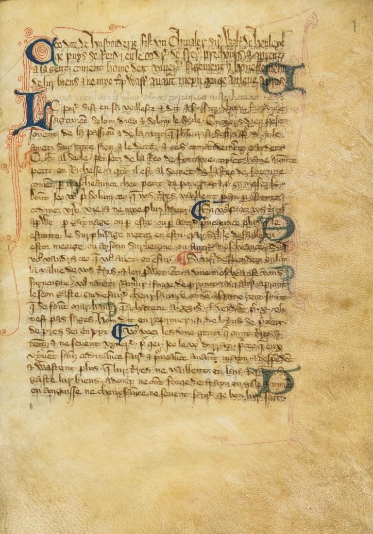 Walter of Henley. [Hosbondrye], Decorated manuscript on