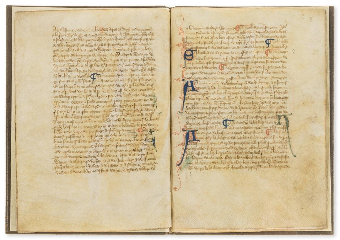 Walter of Henley. [Hosbondrye], Decorated manuscript on - 3
