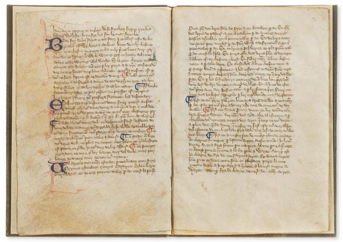 Walter of Henley. [Hosbondrye], Decorated manuscript on - 4
