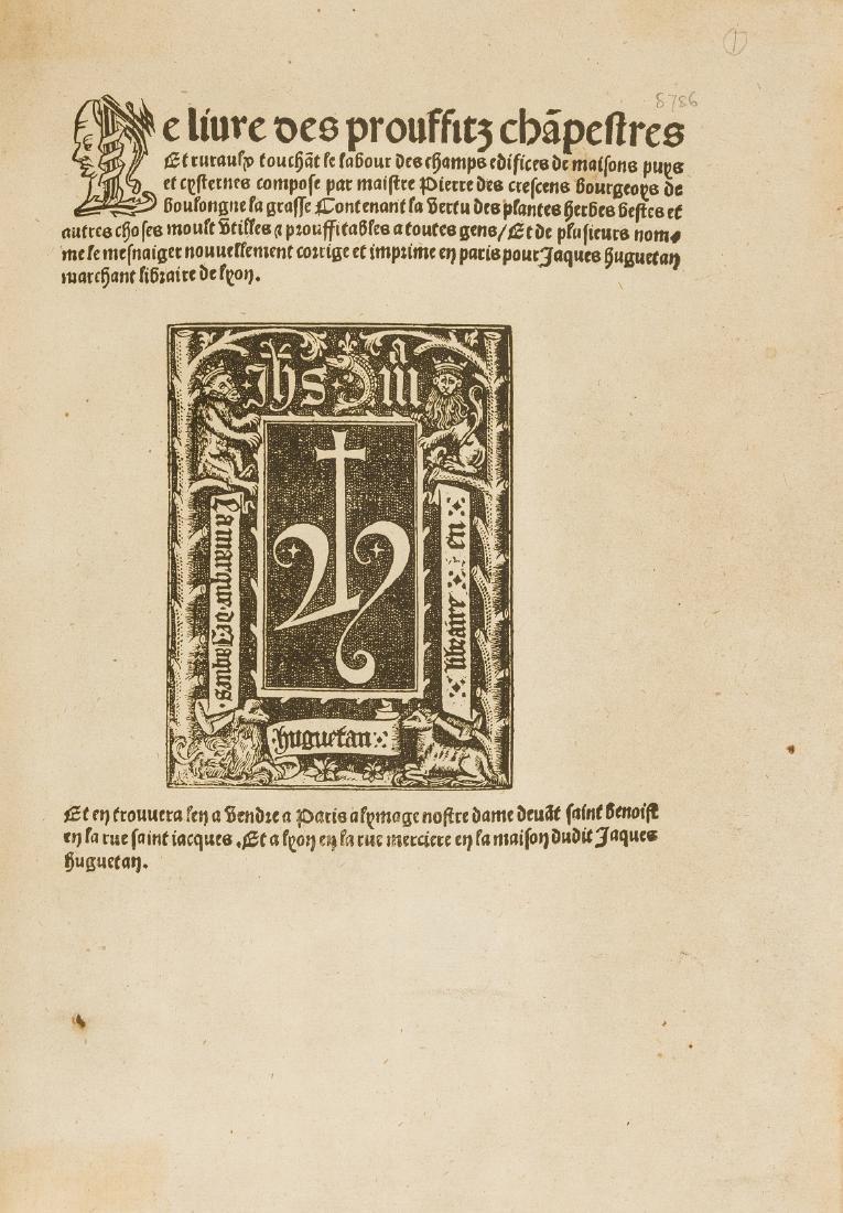 Crescentiis (Petrus de) Le livre des prouffitz