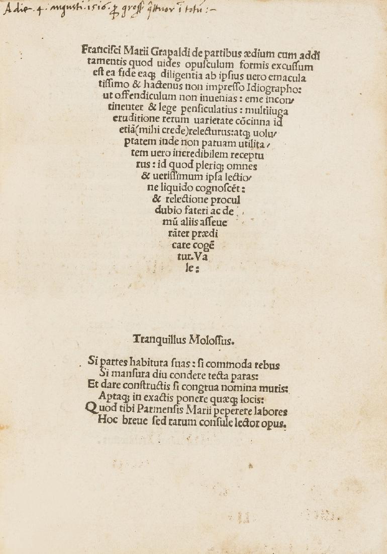 Grapaldus (Franciscus Marius) De partibus aedium,