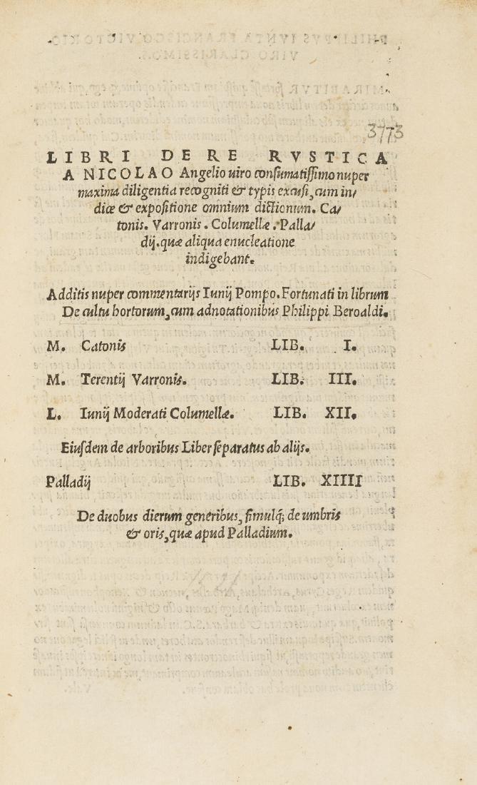 Cato (Marcus Porcius) Libri de re rustica, [Florence],