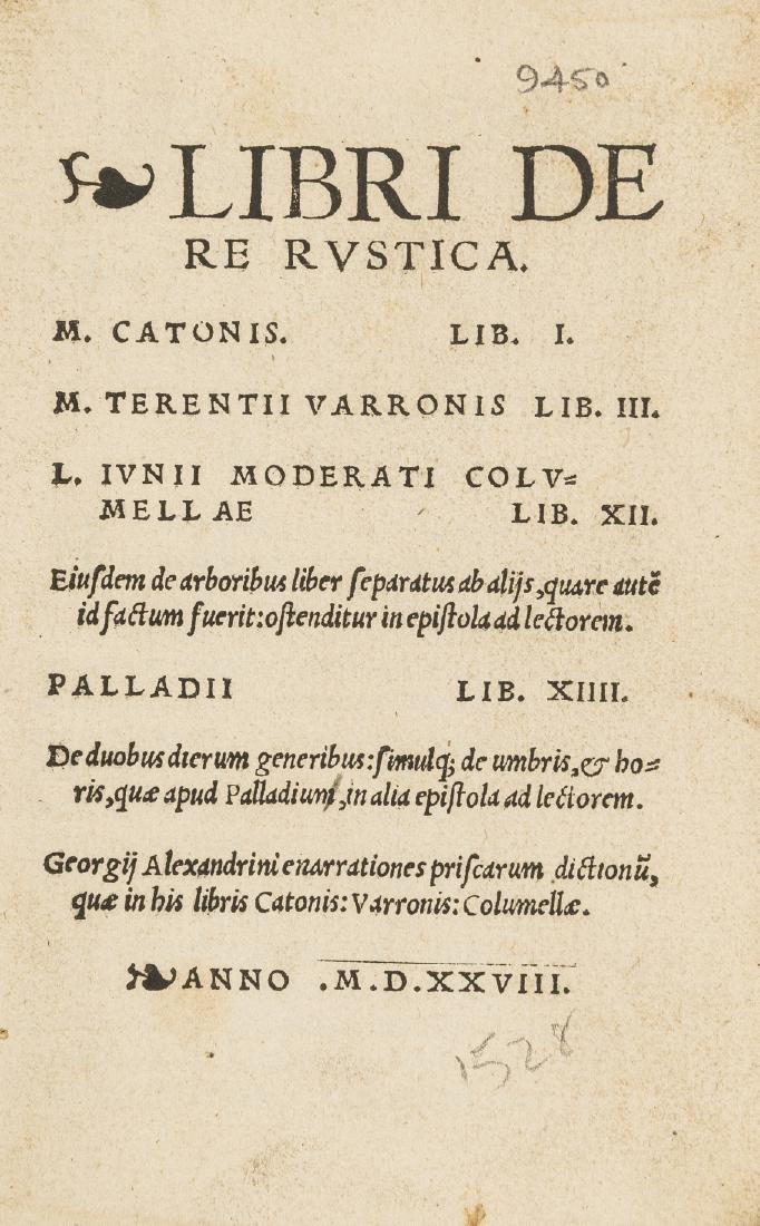 Cato (Marcus Porcius) Libri de re rustica, [Zurich],
