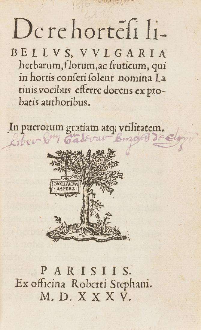 Charles Estienne's first children's book.- Estienne