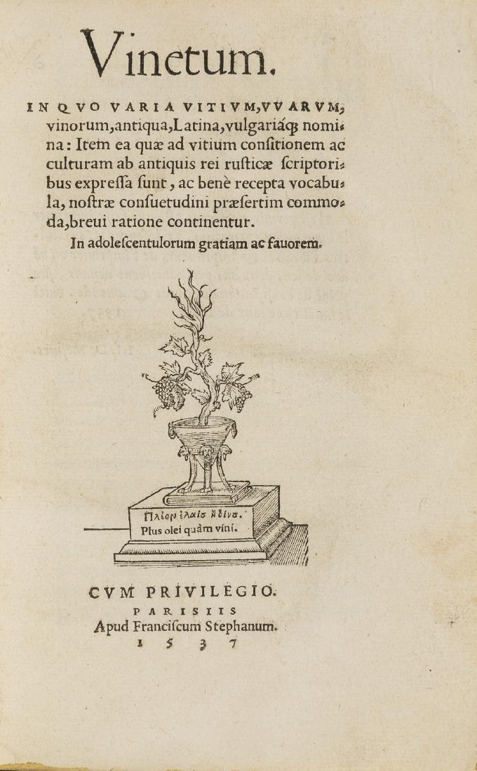 Wine.- Estienne (Charles) Vinetum. In quo varia vitium,