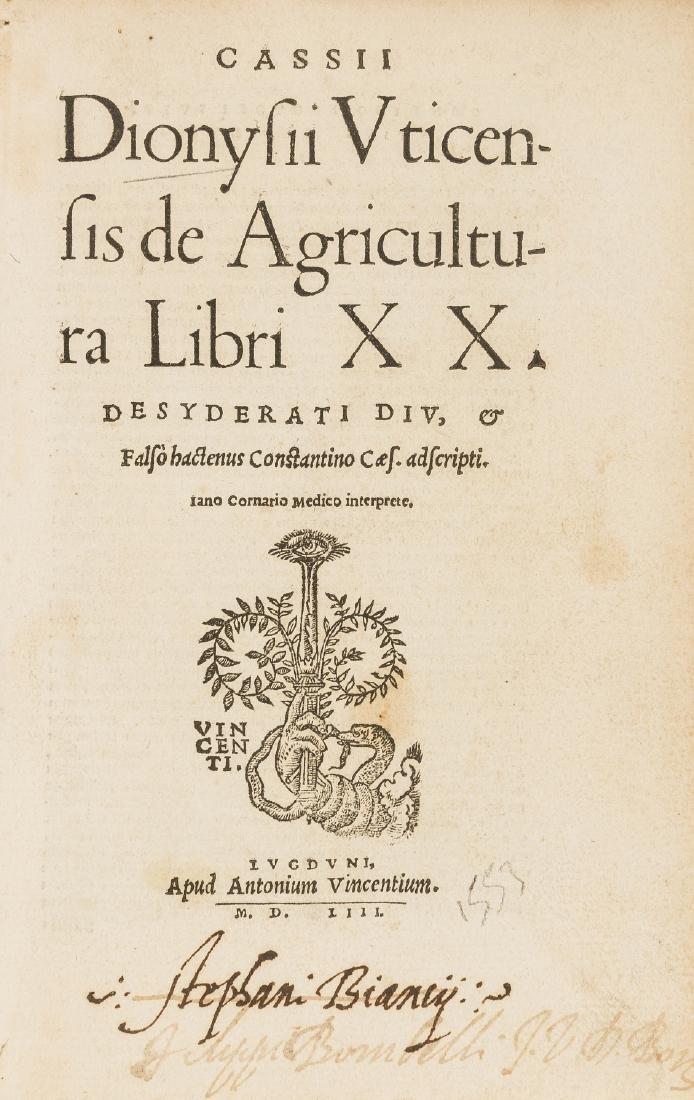 Geoponica, Latin.-  Cassii Dionysii Vticensis de
