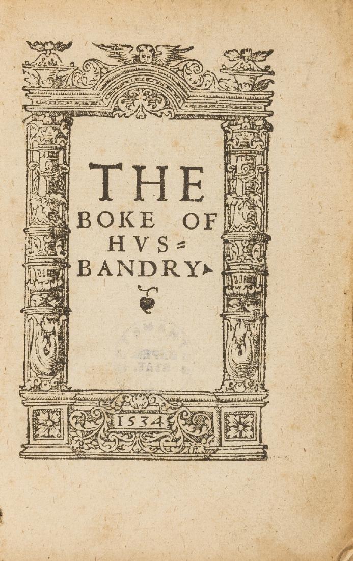 Fitzherbert (John) The Boke of Husbandry, Imprynted at