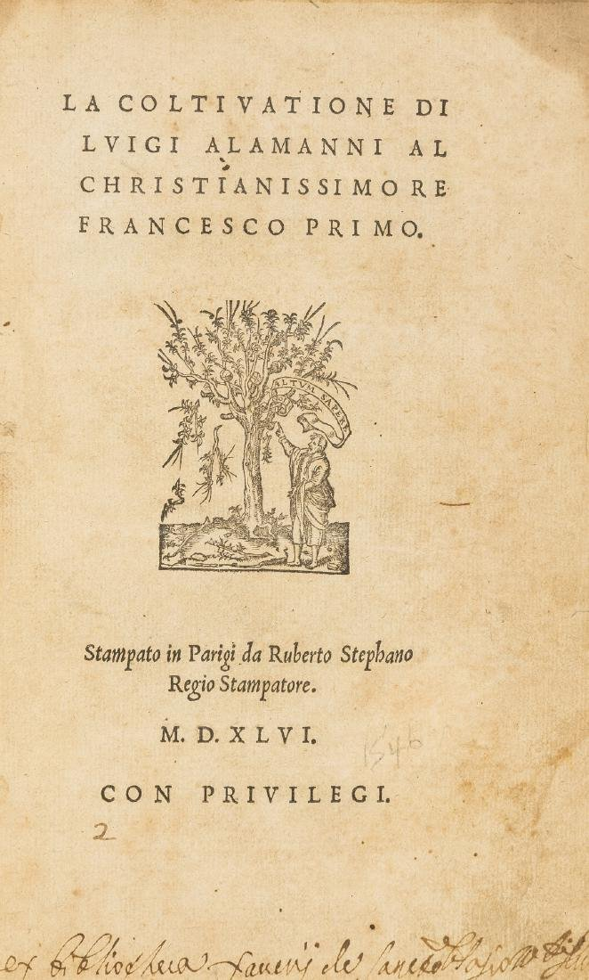 Alamanni (Luigi) La Coltivatione, first edition, first