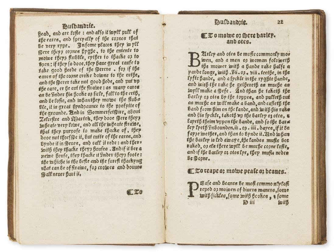 Fitzherbert (John) The Boke of Husbandry, Imprynted at - 2