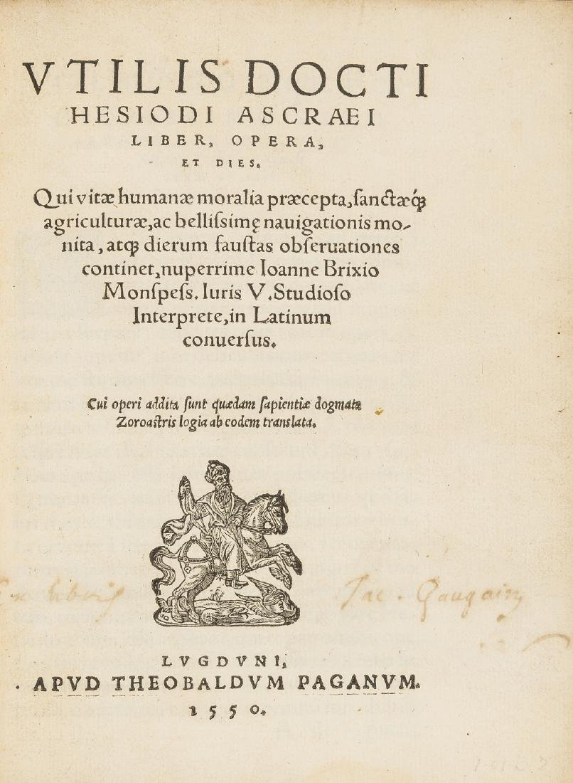 Hesiod. Opera, et dies, Heber copy, Lyon, Theobaldus