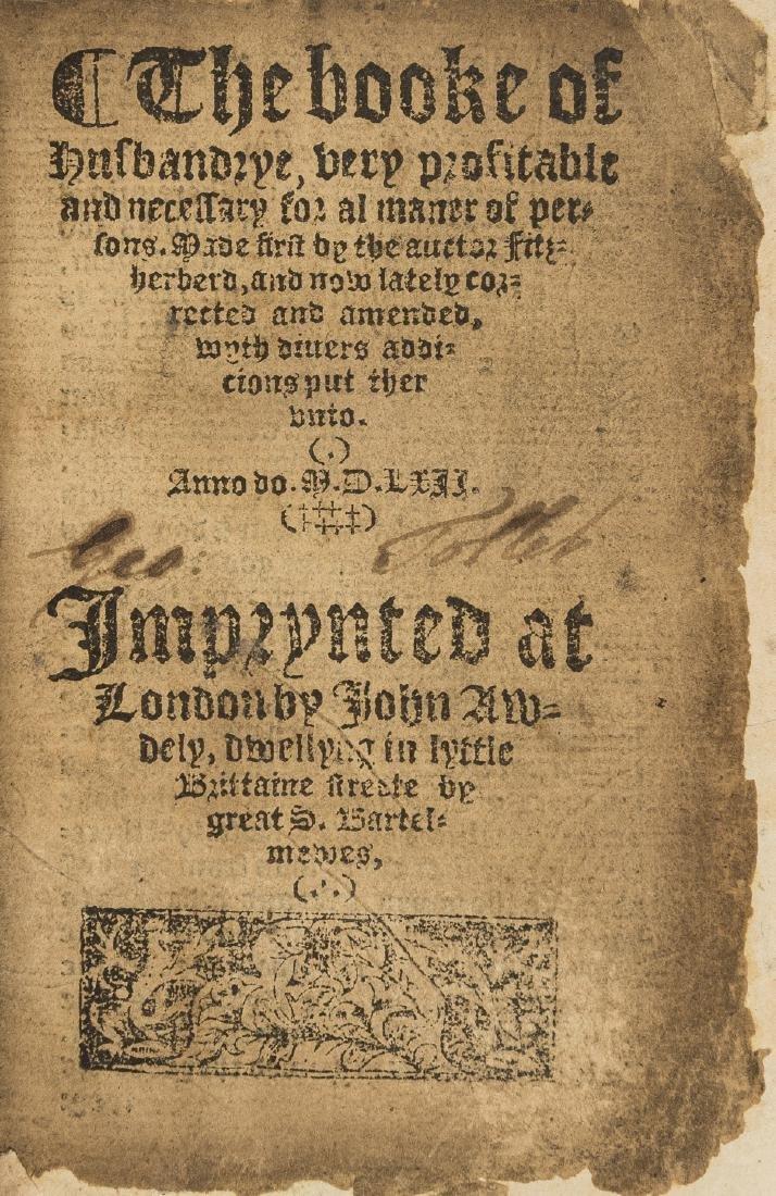 Fitzherbert (John) The booke of husbandrye, very