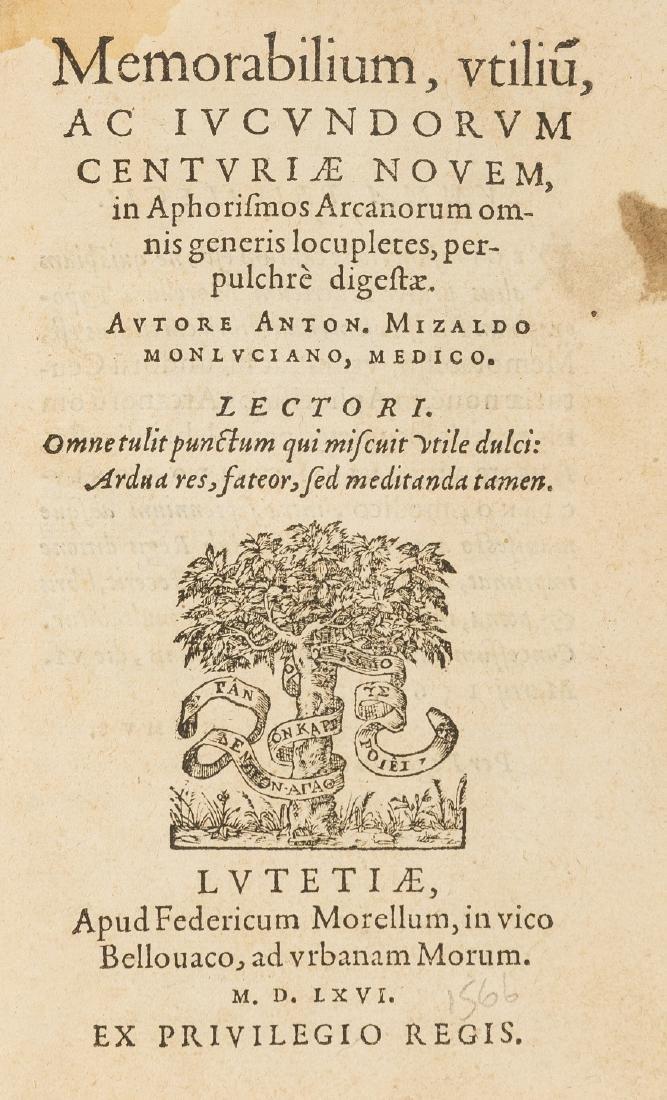 Mizauld (Antoine) Memorabilium, utiliu[m], iudicundorum