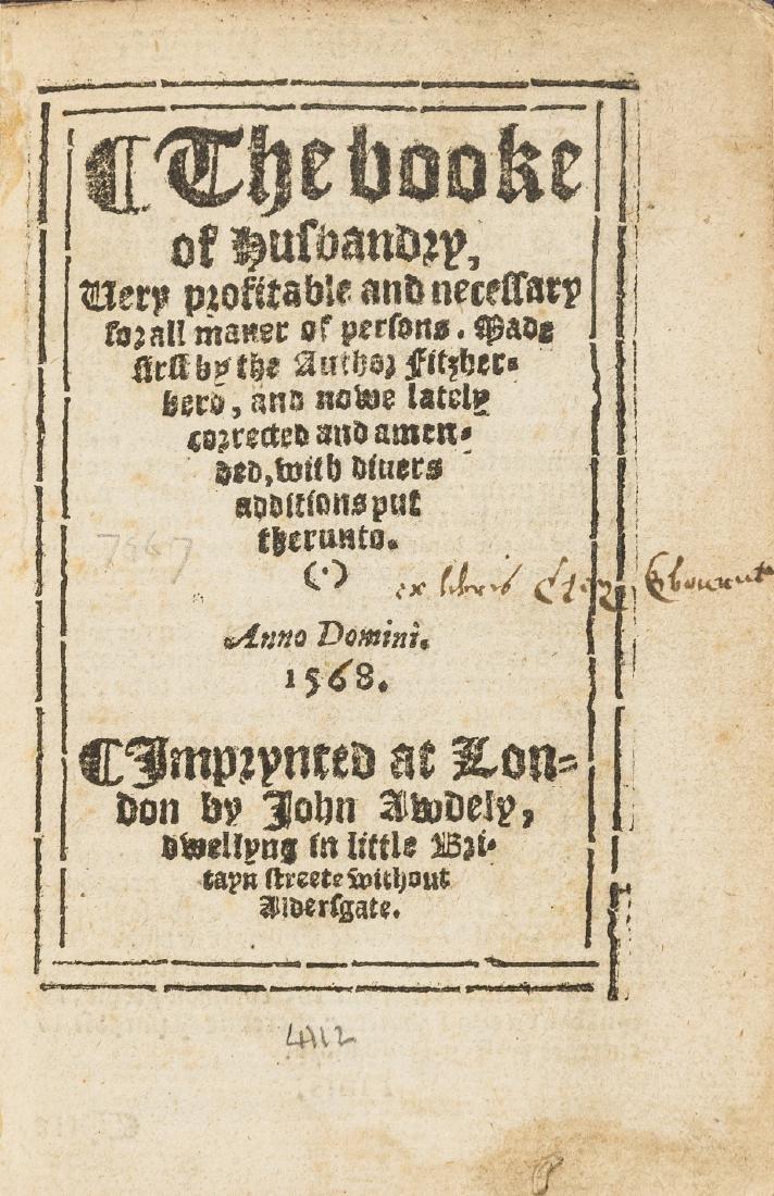 Fitzherbert (John) The booke of husbandry..., Imprynted