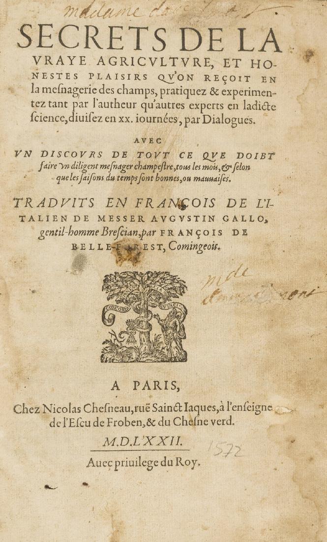 Gallo (Agostino) Secrets de la vraye Agriculture, et