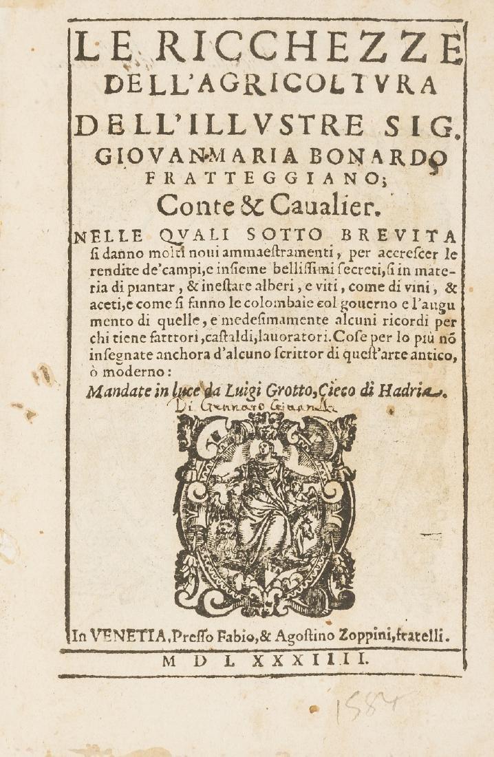 Bonardo (Giovanni Maria) Le Ricchezze dell'Agricoltura,