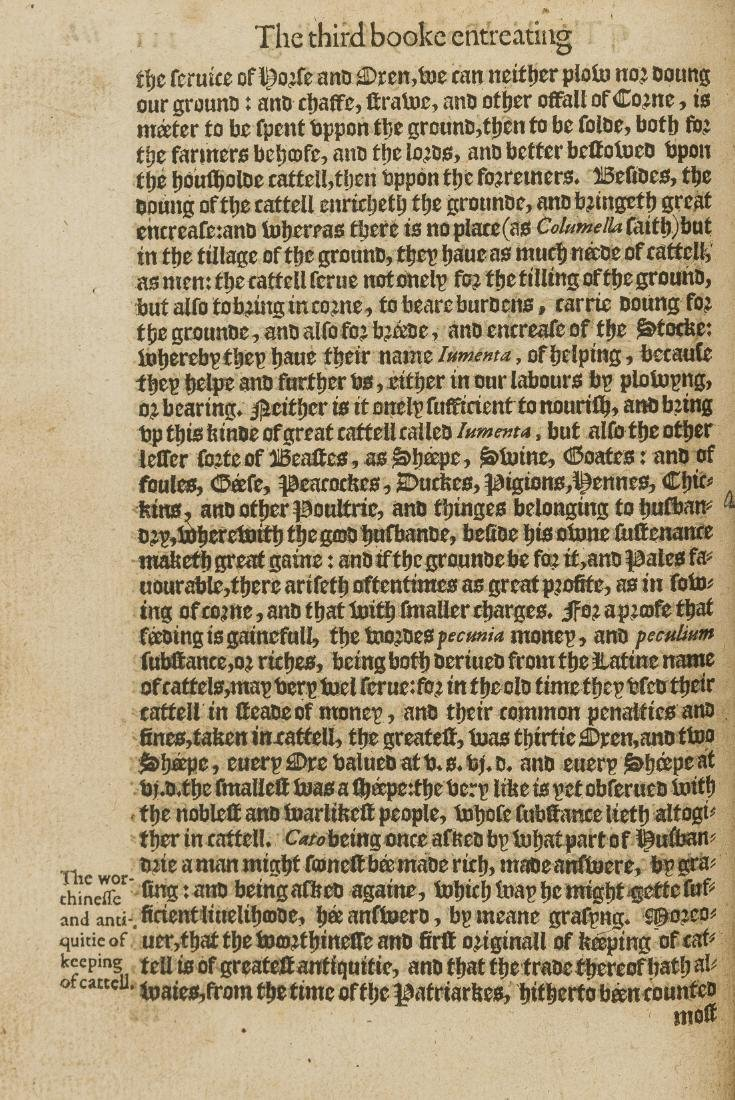 Heresbach (Conrad) Foure Bookes of Husbandrie, Printed - 3