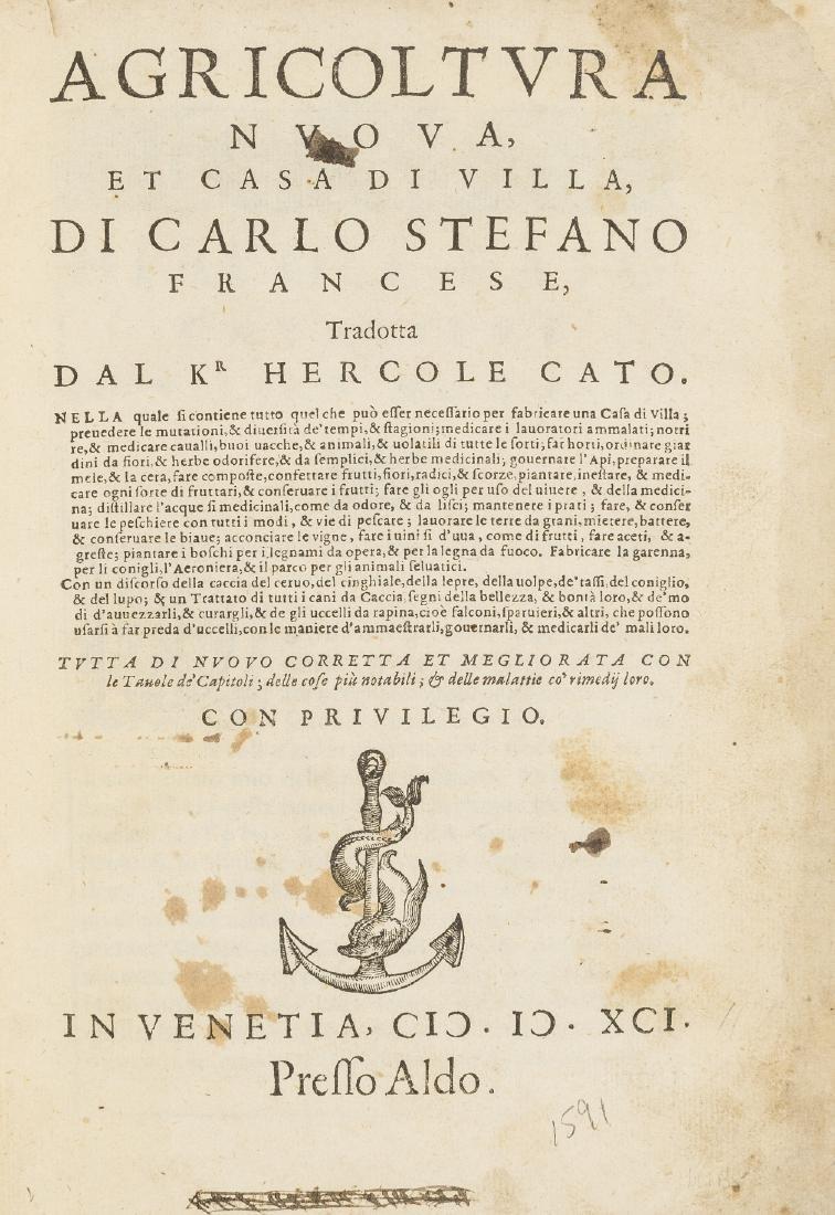 Estienne (Charles) Agricoltura nouva, Venice, Aldus the