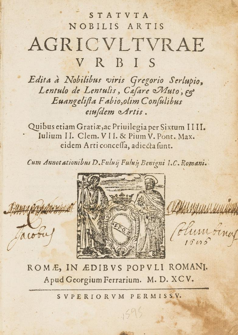 Rome.- Agricultural statutes.- Statuta nobilis Artis