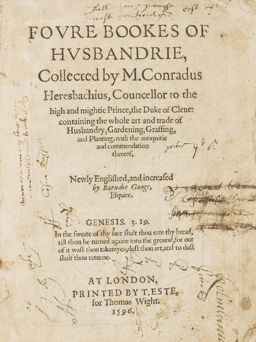 Heresbach (Conrad) Foure Bookes of Husbandrie, Printed