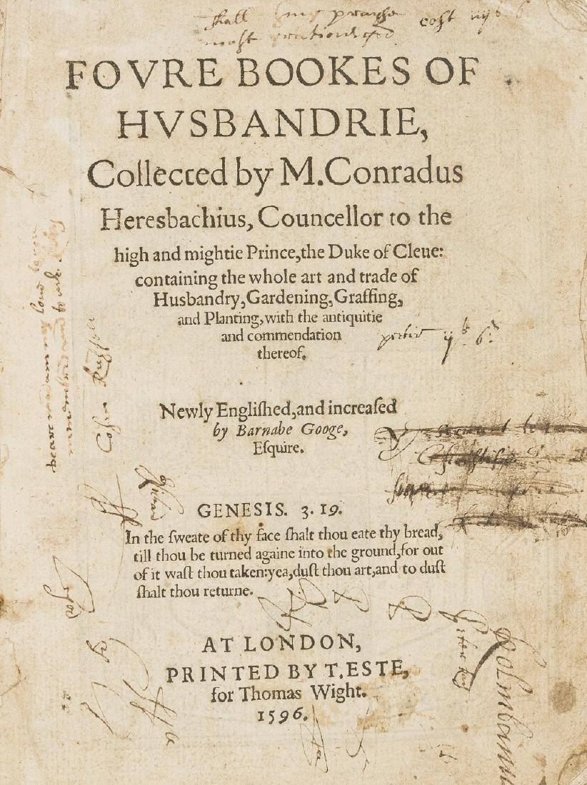 Heresbach (Conrad) Foure Bookes of Husbandrie, Printed