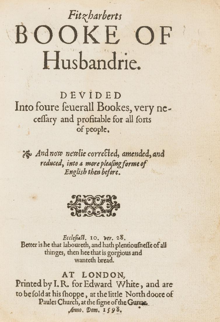 Fitzherbert (John) Fitzharberts Booke of Husbandrie,