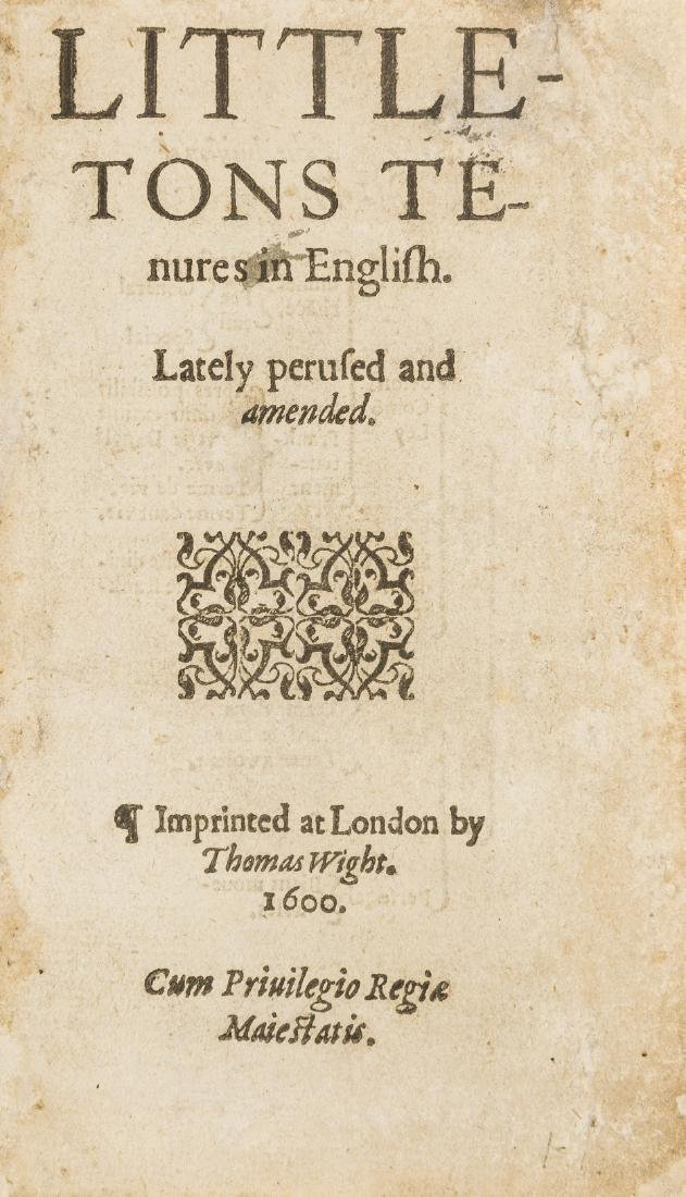 Law.- Littleton (Thomas) Tenures in English, Imprinted