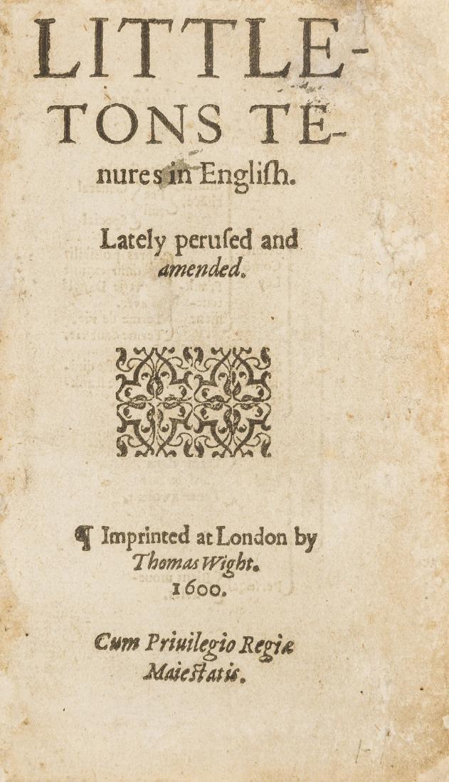 Law.- Littleton (Thomas) Tenures in English, Imprinted