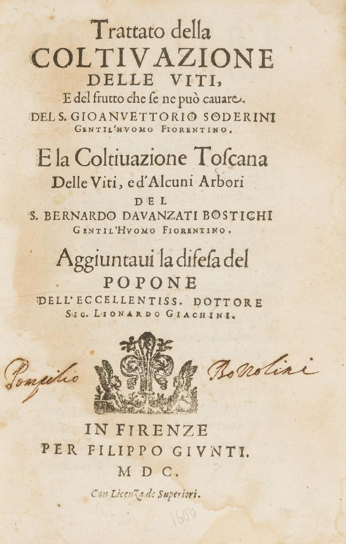 Wine.- Soderini (Giovanni Vittorio) Trattato della