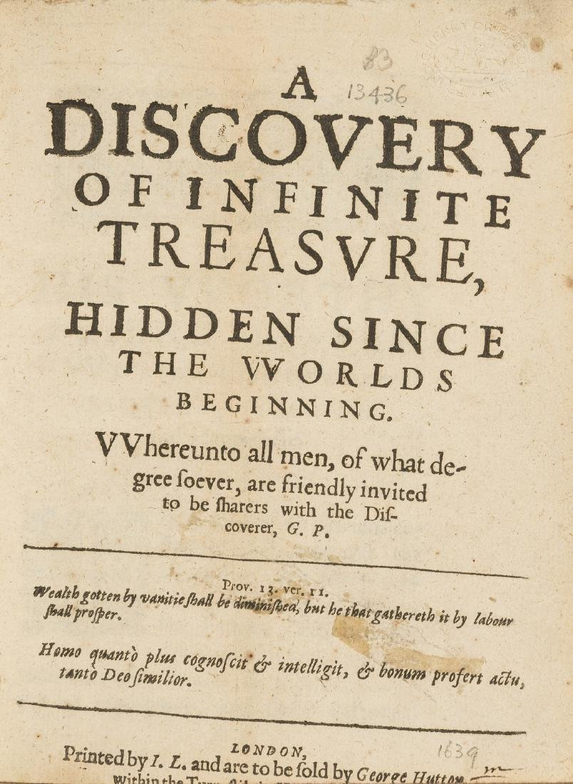 Plattes (Gabriel) A Discovery of Infinite Treasvre,