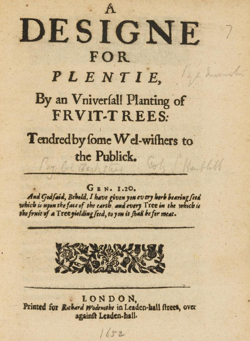 Hartlib (Samuel) A Designe for Plentie, By an