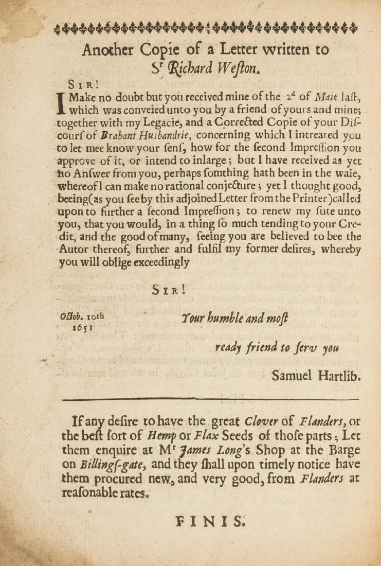Hartlib (Samuel).- Weston (Sir  Richard) A Discours of